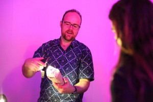 Demonstrating vibrating torches and light recorders at We Are Robots. Photo by Hackoustic.