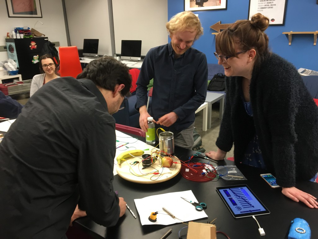 Exploring conductive objects as instruments at a recent workshop at Milieux Institute, Montreal. Items participants brought in included fruit, jewellery, bottled water, and a tampon.